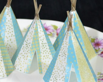 Edible Teepee's 3D 5 Boho Golden Blue Stars Tipi Wafer Paper Bohemian Wedding Cake Decoration Wild Rustic Birthday Cupcake Topper Cookie