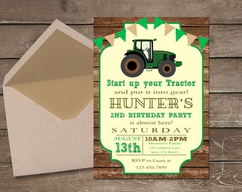 Tractor Birthday Invitation, Farm Invitation, Tractor Invitation, Printable Invitation, Tractor Party, Tractor Birthday, Boy Birthday Invite