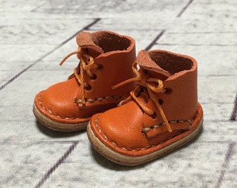 Real leather: miniature short boots [Orange] (for Blythe)