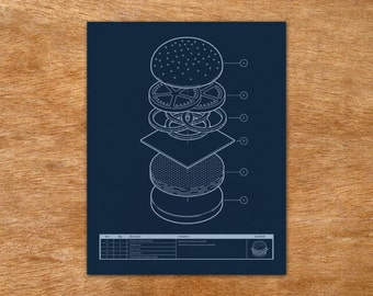 Burger Blueprint - handmade screen print