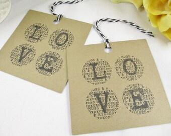 Thank You Kraft Tag - Kraft Love Wedding Favor Tag - Bridal Shower Tag - Paper Tag - Gift Tag - Favor Tag - Kraft Party Tag - Bag Tags