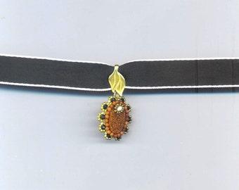 Beadwoven/ Beaded Goldstone Pendant . Caramel . Black Onyx Necklace . Leaves & Floral Design - Gold Stone Elegance by enchantedbeads on Etsy