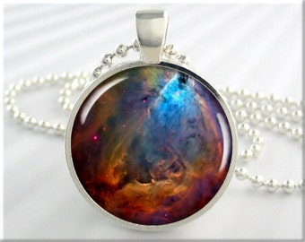 Space Nebula Pendant, Resin Charm, Hubble Space Telescope Picture, Resin Photo Necklace, Gift Under 20, Space Geek Gift 549RS