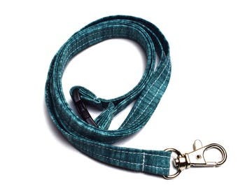 Blue Fabric lanyard, lanyard with lobster clip, id holder,  handmade lanyard, badge holder, travel neck strap, workwear, gift for her