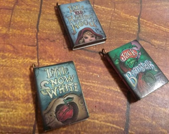 Fairy Tale Book Charms Miniature Book Charms Wooden Fairytale Charms Pendants