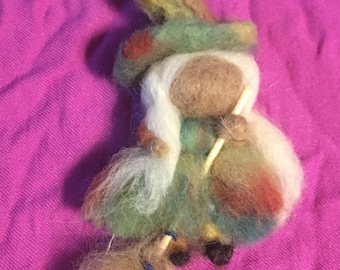 needle felted witch brooch