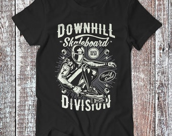 Downhill Skateboard Division , Skateboard Tee , Skate T-shirt , Skater Gift Shirt