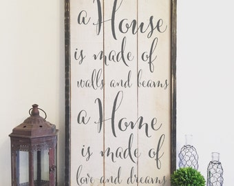 a house is made of walls and beams a home is made of love and dreams, vintage wood sign