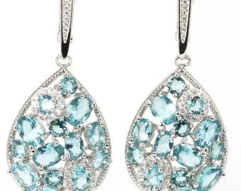 Teardrop Aquamarine Crystal Silver Earrings