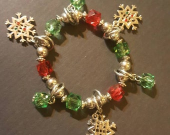 Snowflake Bracelet, silver red and green, FREE Shipping