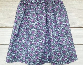 Blue skirt, white purple blue flowers fabric, betsy in pastel blue floral cotton.