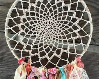 "Dream Catcher, Coral and mint dreamcatcher for Boho Shower Boho Wedding or Tribal Princess 12"" handmade Party Decoration. CUSTOM colors TOO"
