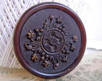 "Vintage Large 1.625"" Black and Brown Sewing Button with Stamped Brass Center"