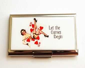 Business Card Case, business card holder, Let the games begin, Card Case, Card Games, Hearts, Pin up girl, Sassy Women, red, white (3660)