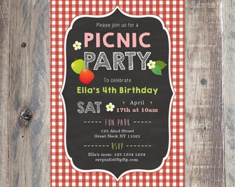 Picnic Party Birthday Invitation, Printable PDF or Jpeg