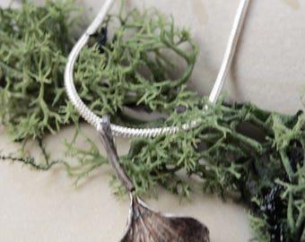 Gingko Leaf Silver Pendant