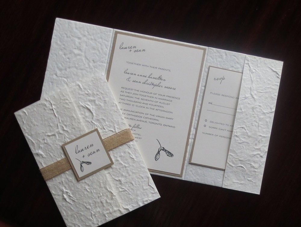 Handmade Rustic Wedding Invitations: Helicopter Maple Seed Pods Sample Rustic Eco-Friendly
