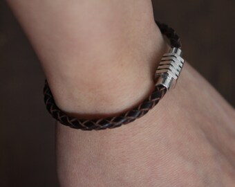 Customizable braided leather bracelet, magnetic clasp bracelet