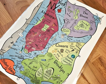 NY Boroughs Map Art Print