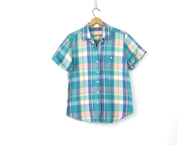 Colorful Plaid Shirt Button Up Top Pastel Green Print Short Sleeve Tee Vintage Preppy Cotton Tshirt Pink Purple Shirt Womens Size Medium