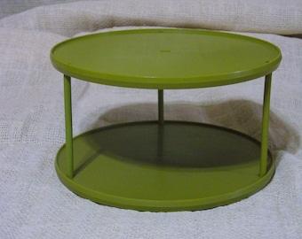 Vintage Rubbermaid Lazy Susan Turntable// Olive Green Spice Storage// Kitchen Organization