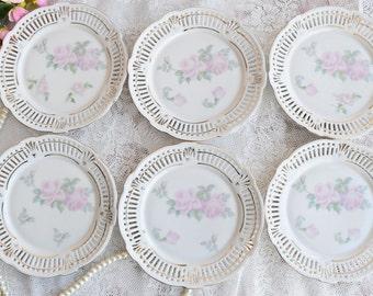 Plate set vintage floral plate set made in Germany dessert plate set german porcelain perfored plate set openwork porcelain