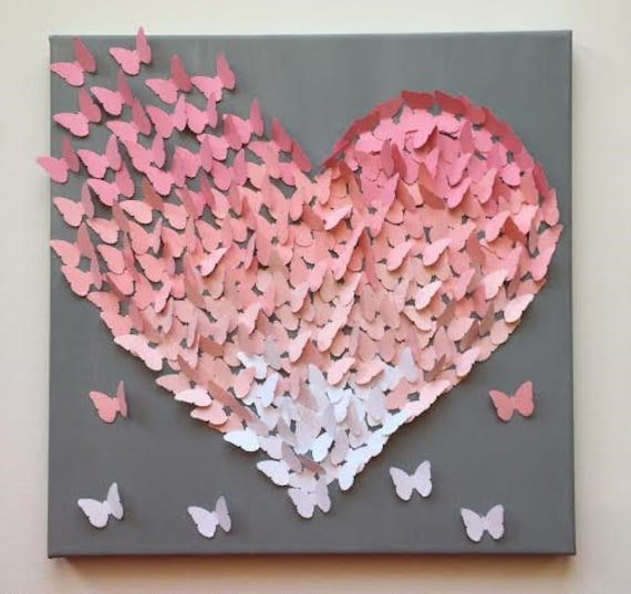 Items Similar To 3d Butterfly Wall Art Light Pink On Grey