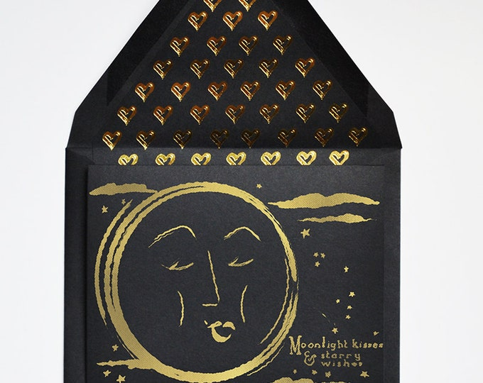 Moonlight Kisses & Starry Wishes Black Card