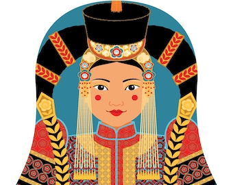 Mongolian Wall Art Print features cultural traditional dress drawn in a Russian matryoshka nesting doll shape