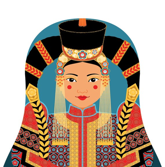 Mongolian Doll Art Print with traditional folk dress, matryoshka
