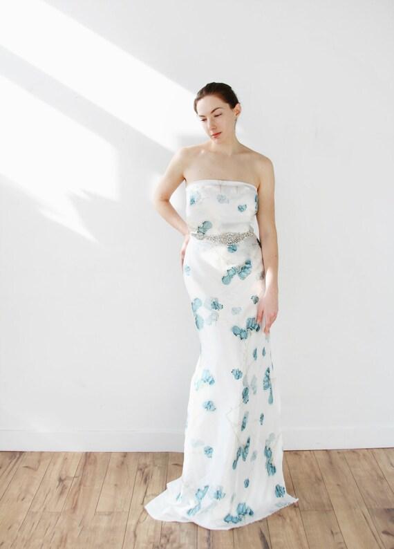 Trägerlosen Seide Floral Mantel Brautkleid