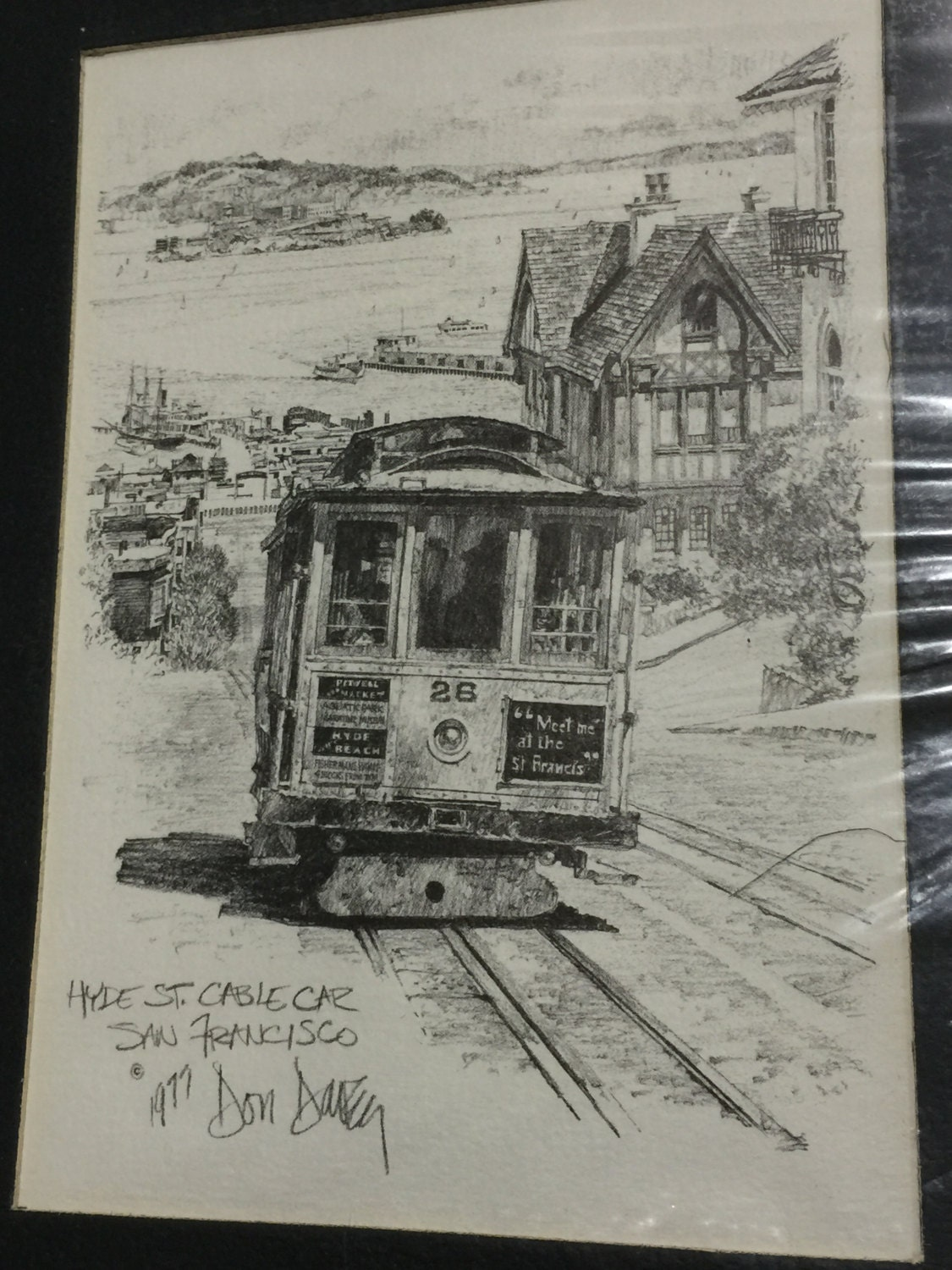 1977 Don Davey Hyde Street Cable Car San Francisco Matted