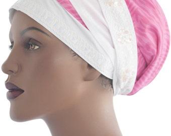 Rosa Zebra Wrap Schal Naturhaar Wrap Schal Loc Wrap Tichel Schal Chemo Schal Hijab