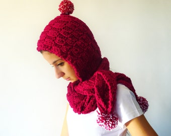 Wool hooded scarf. Pink hood scarf. Pom pom scarf. Hand knitted scarf. Gift idea for girls
