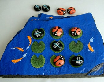 FREE SHIPPING-Tic tac toe board game hand painted rocks spring camping patio barbecue family fun Koi pond ladybugs dragonflies original art