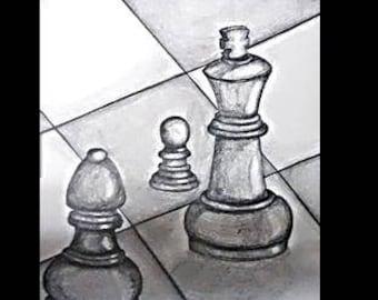 "original artwork, OOAK, graphite ""Chess"""