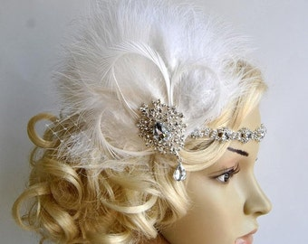 Rhinestone Flapper 1920s headpiece, Rhinestone Headband, Bridal wedding crystal headband, the great gatsby headpiece, rhinestone flapper