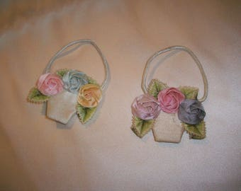 Antique silk ribbon work authentic 1920s pretty baskets