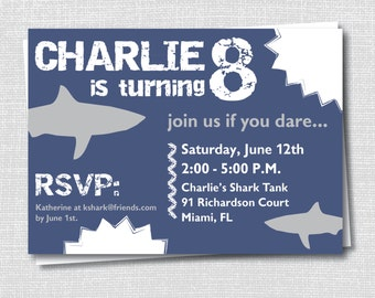 Shark Birthday Party Etsy - Free shark birthday invitation template