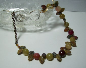 Autumn Leaves Necklace. Soocho Jade and Czech Picasso Leaves. Stone, Glass, and Brass Necklace. Fall Jewelry.