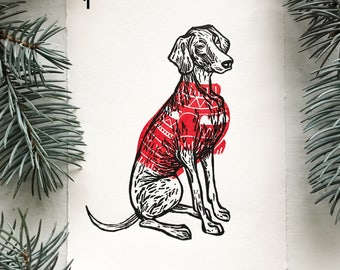 Dogs. Linocut print. 1 postcard