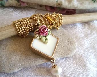Clay necklace. vintage style necklace. bridal necklace. white necklace. long pendant necklace. rose necklace. ceramic necklace