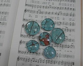 Blue Barnwood Fridge Magnets / Glass Magnets / Refrigerator Magnets / Fridge Magnets / Glass Premium Magnets / Office or School