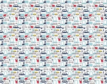 Holiday Cars in White - 1 yard - by Riley Blake Fabrics.