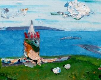 ORIGINAL Ireland landscape painting, Irish Castle, small painting, 5x7