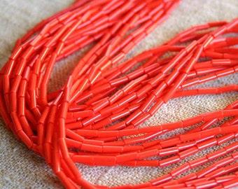 1 Hank Seed Bugle Beads 6x2mm Opaque Light Red  Preciosa Czech Glass