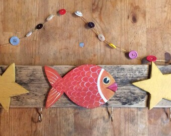 Colourful hand crafted fish and star driftwood hanger.