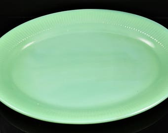 Fire King Jadeite Jane Ray Pattern 12 Inch Oval Platter