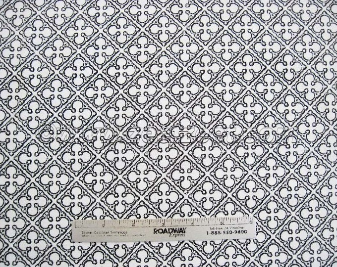 "34"" Remnant Antiquity QUATREFOILS White Black - Quilt Fabric by Michael Miller Color Ebony"