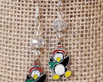 vintage charm (silvertone penguin) earrings, quartz earrings, quartz/penguin earrings, pierced earrings